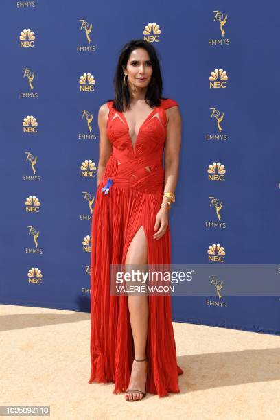 Padma Lakshmi arrives for the 70th Emmy Awards at the Microsoft Theatre in Los Angeles California on September 17 2018