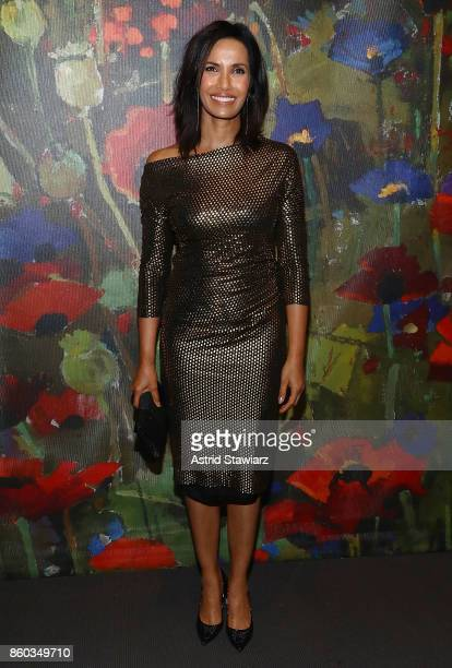 Padma Lakshmi attends 2017 'Take Home A Nude' art party and auction at Sotheby's on October 11 2017 in New York City