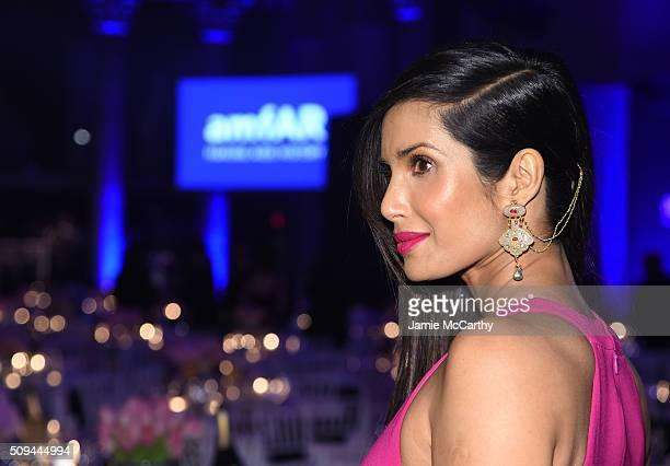 Padma Lakshmi attends the 2016 amfAR New York Gala at Cipriani Wall Street on February 10 2016 in New York City