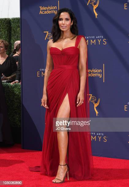 Padma Lakshmi attends the 2018 Creative Arts Emmy Awards at Microsoft Theater on September 9 2018 in Los Angeles California