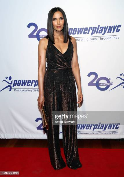 Padma Lakshmi attends the 2018 PowerPlay NYC gala at Pier 61 at Chelsea Piers on May 9 2018 in New York City