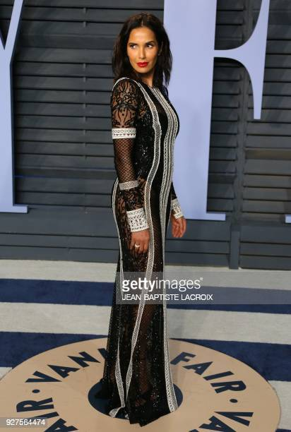 Padma Lakshmi attends the 2018 Vanity Fair Oscar Party following the 90th Academy Awards at The Wallis Annenberg Center for the Performing Arts in...