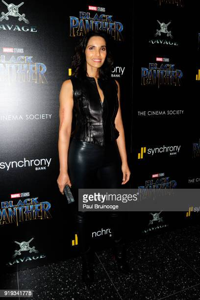 Padma Lakshmi attends The Cinema Society with Ravage Wines Synchrony host a screening of Marvel Studios' 'Black Panther' at The Museum of Modern Art...
