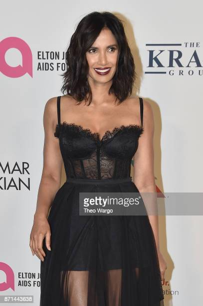Padma Lakshmi attends the Elton John AIDS Foundation Commemorates Its 25th Year And Honors Founder Sir Elton John During New York Fall Gala at...