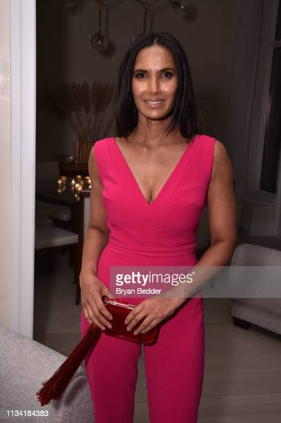 Padma Lakshmi attends the FIJI Water with the Cinema Society host a special screening of 'Captain Marvel' on March 06 2019 in New York City