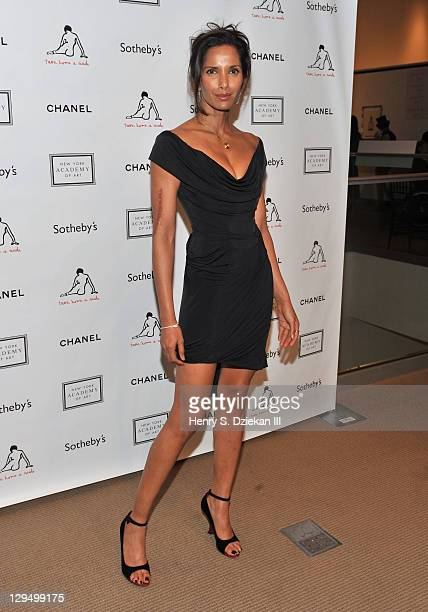 Padma Lakshmi attends The New York Academy of Art's 20th Annual Take Home a Nude benefit at Sotheby's on October 17 2011 in New York City