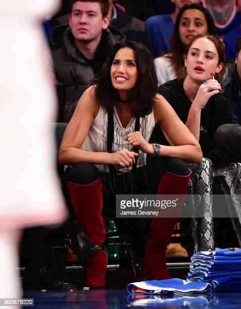 Padma Lakshmi attends the New York Knicks Vs San Antonio Spurs game at Madison Square Garden on January 2 2018 in New York City