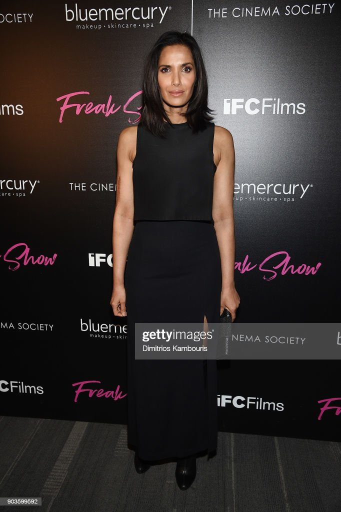 Padma Lakshmi attends the premiere of IFC Films' 'Freak Show' hosted by The Cinema Society at Landmark Sunshine Cinema on January 10, 2018 in New York City.