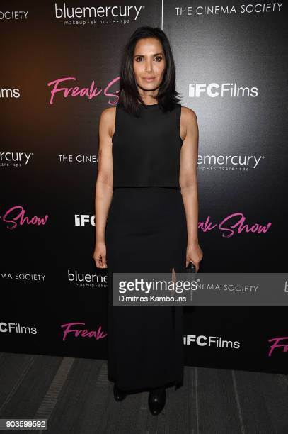 Padma Lakshmi attends the premiere of IFC Films' 'Freak Show' hosted by The Cinema Society at Landmark Sunshine Cinema on January 10 2018 in New York...