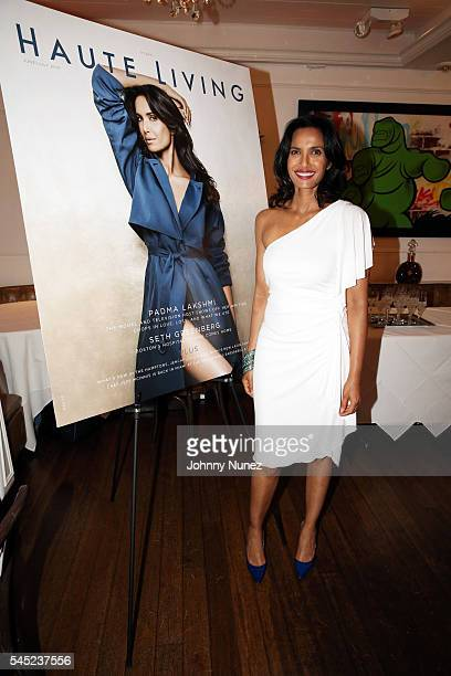 Padma Lakshmi attends the RollsRoyce Louis XIII And JetSmarter Celebration of the Padma Lakshmi Haute Living Cover at Bagatelle on July 6 2016 in New...