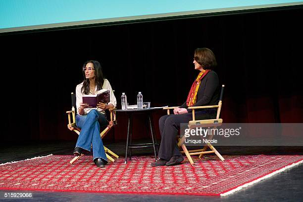 Padma Lakshmi discusses her memoir Love Loss and What We Ate at Live Talks LA at Crest Theatre on March 15 2016 in Westwood California