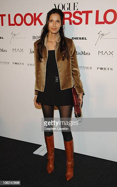 Padma Lakshmi during MercedesBenz Fashion Week Fall 2007 Vogue First Look Arrivals and Inside at Phillips de Pury Gallery in New York City New York...