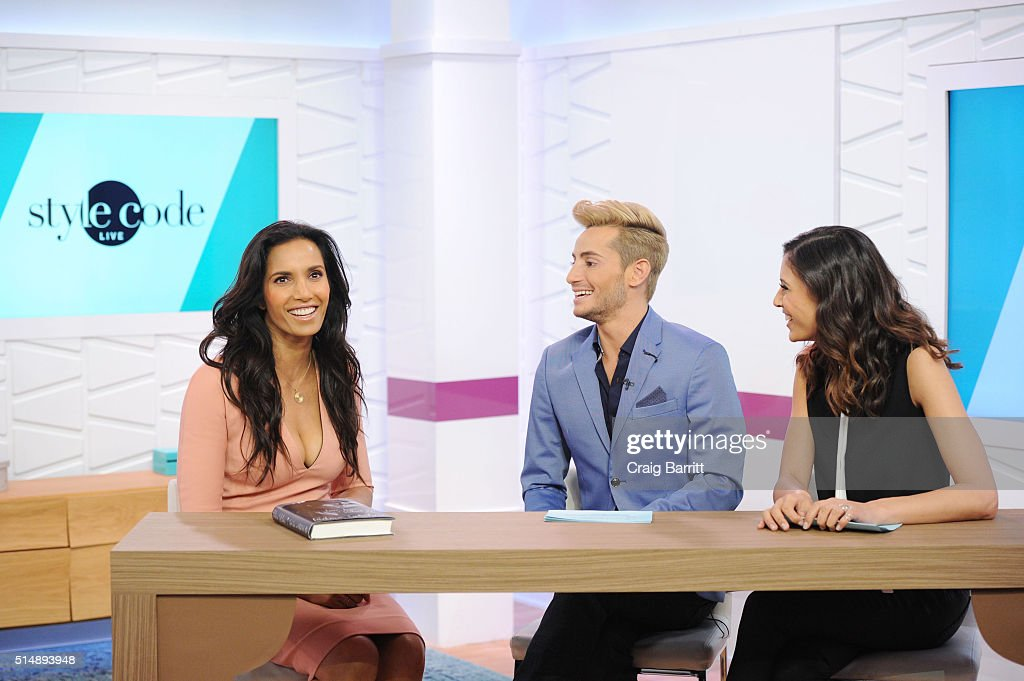 Padma Lakshmi, Frankie Grande and Lyndsey Rodrigues appear on Amazon's new live stream show, 'Style Code Live' on March 09, 2016 in New York City.