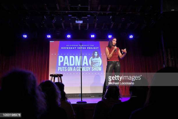 Padma Lakshmi hosts the Movement Voter Project comedy benefit at The Bell House on October 24 2018 in the Brooklyn borough of New York City