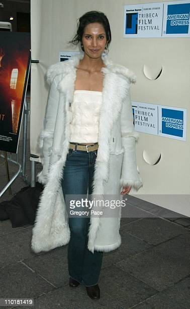 Padma Lakshmi in a Gucci coat during 2003 Tribeca Film Festival 'Chinese Coffee' Screening Hosted by Al Pacino at Tribeca Performing Arts Center in...