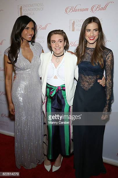 Padma Lakshmi Lena Dunham and Allison Williams attend the 8th Annual Blossom Ball benefiting the Endometriosis Foundation of America at Pier Sixty at...