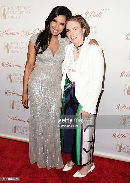Padma Lakshmi Lena Dunham attends the 8th Annual Blossom Ball at Pier Sixty at Chelsea Piers on April 19 2016 in New York City