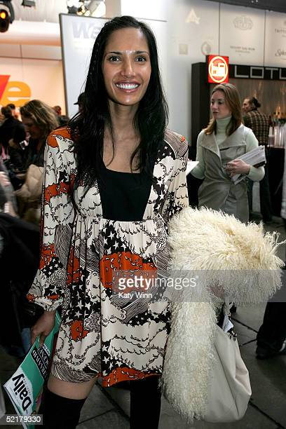 Padma Lakshmi poses for photos in the lobby of the main tent during Olympus Fashion Week Fall 2005 at Bryant Park February 10 2005 in New York City