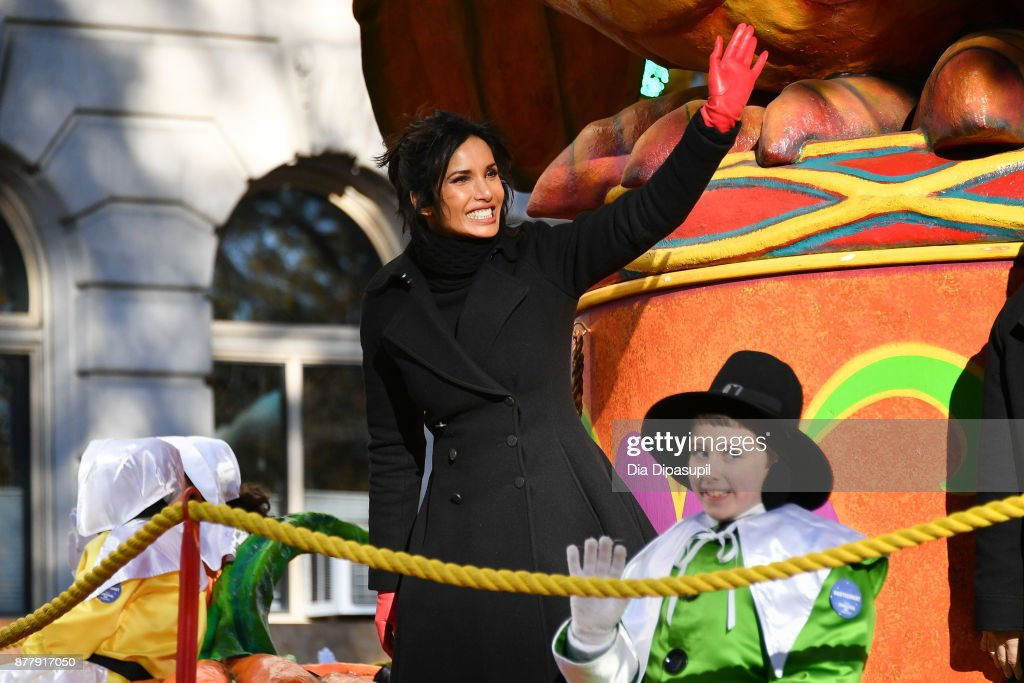 Padma Lakshmi rides in the 91st Annual Macy's Thanksgiving Day Parade on November 23, 2017 in New York City.