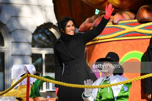 Padma Lakshmi rides in the 91st Annual Macy's Thanksgiving Day Parade on November 23 2017 in New York City