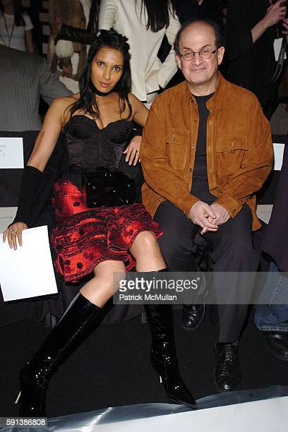 Padma Lakshmi Rushdie and Salman Rushdie attend Luca Luca Fall 2005 Fashion Show at The Tent at Bryant Park on February 6 2005 in New York City