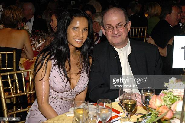 Padma Lakshmi Rushdie and Salman Rushdie attend The 2005 Pen Montblanc Literary Gala at American Museum of Natural History on April 20 2005 in New...