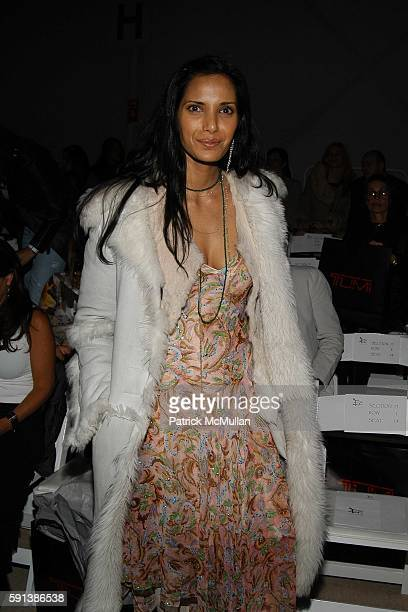 Padma Lakshmi Rushdie attends Esteban Cortazar Fall 2005 Fashion Show at The Plaza at Bryant Park on February 6 2005 in New York City