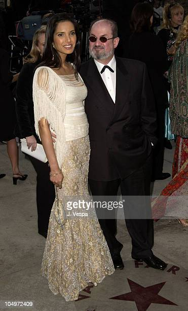 Padma Lakshmi Salman Rushdie during 2002 Vanity Fair Oscar Party Hosted by Graydon Carter Arrivals at Morton's Restaurant in Beverly Hills California...