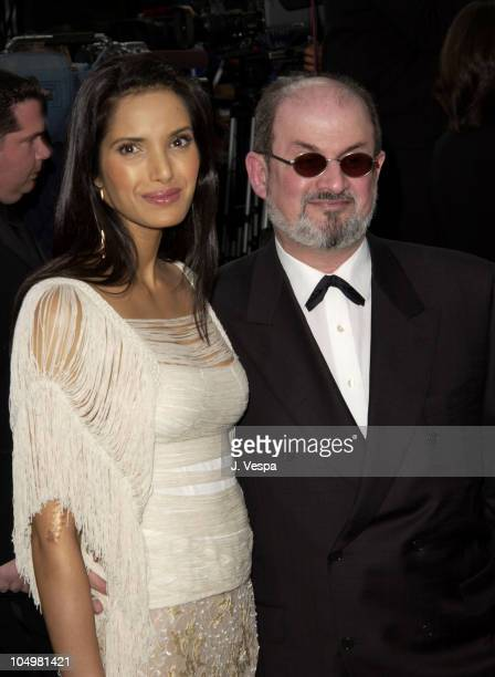 Padma Lakshmi Salman Rushdie during 2002 Vanity Fair Oscar Party Hosted by Graydon Carter Arrivals at Morton's Restaurant in Beverly Hills California...