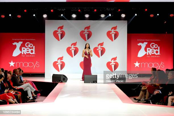 Padma Lakshmi speaks on stage walks the runway for The American Heart Association's Go Red For Women Red Dress Collection 2019 Presented By Macy's at...