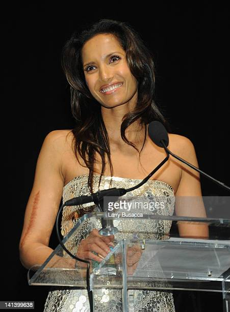 Padma Lakshmi speaks onstage at the Endometriosis Foundation of America's 4th annual Blossom Ball at The New York Public Library Stephen A Schwarzman...