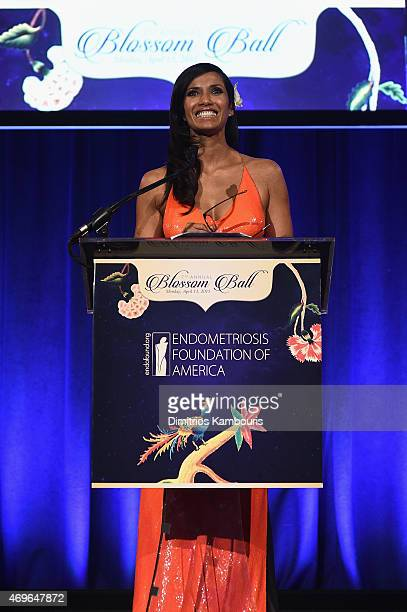 Padma Lakshmi speaks onstage during the 7th Annual Blossom Ball benefiting the Endometriosis Foundation Of America hosted by EFA Founders Padma...