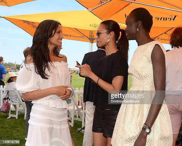 Padma Lakshmi, Zoe Saldana and Alek Wek at the VIP Marquee during the fifth Annual Veuve Clicquot Polo Classic on June 2, 2012 in Jersey City.