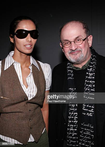 Padma Lakshmie and writer Salman Rushdie attend the Temperley London Fall 2006 fashion show during Olympus Fashion Week at Bryant Park February 9...