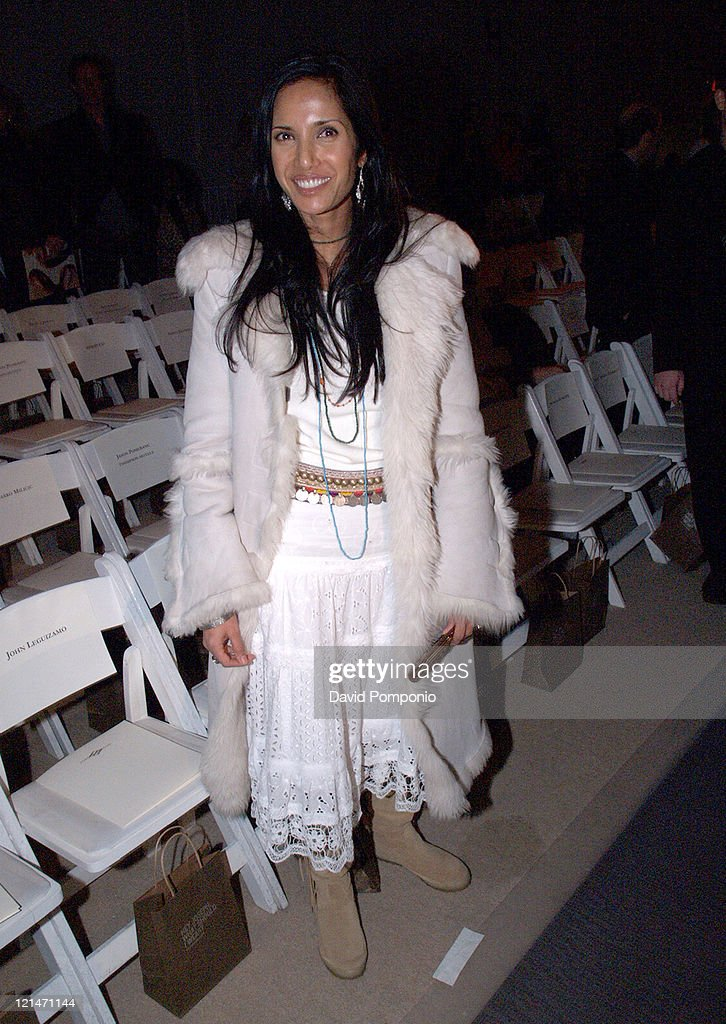 Padma Lakshmi-Rushdie during Olympus Fashion Week Fall 2005 - Joseph Abboud - Front Row and Backstage at Bryant Park in New York City, New York, United States.