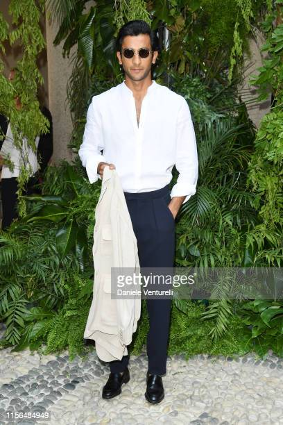 Padmanabh Singh arrives at the Giorgio Armani fashion show during the Milan Men's Fashion Week Spring/Summer 2020 on June 17 2019 in Milan Italy
