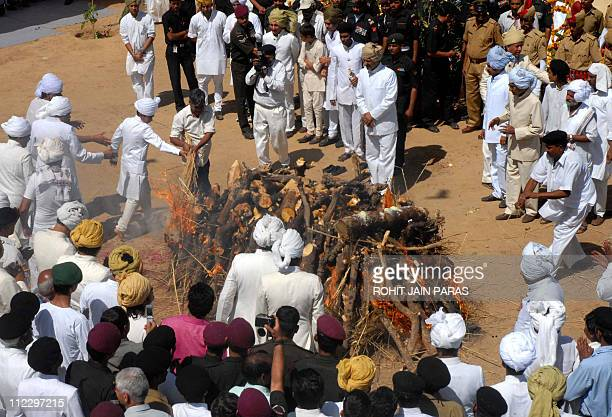 Padmanabh Singh grandson and heir of Bhawani Singh the last maharaja of Jaipur lights fire at the pyre of the erstwhile ruler at his funeral ceremony...