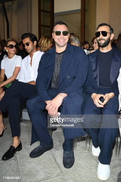 Padmanabh Singh Ian Thorpe and Marco Mengoni attend the Giorgio Armani fashion show during the Milan Men's Fashion Week Spring/Summer 2020 on June 17...