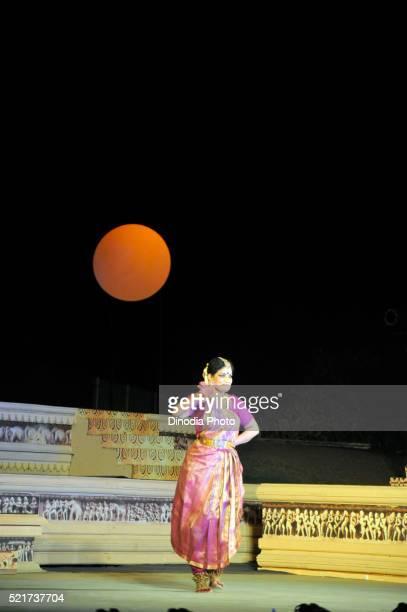Padmashri Geeta Chandran dancing at Khajuraho temple, Madhya Pradesh, India, Asia