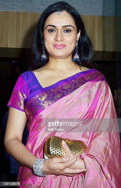 Padmini Kolhapure during the birthday celebration of Indian Bollywood film actress Poonam Dhillon in Mumbai on April 18 2012