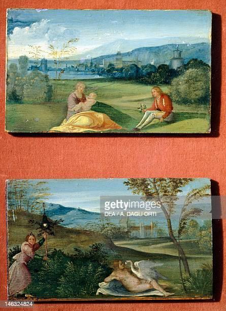 Padova, Musei Civici Eremitani, Museo D'Arte Medievale E Moderna Idyllic country setting and Leda and the Swan , ca 1500, by Giorgione , oil on...