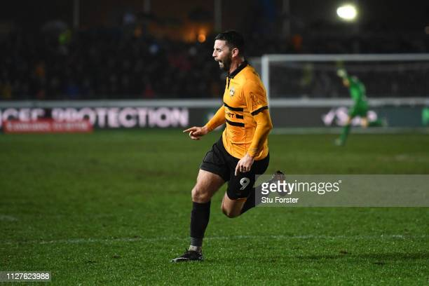 Padraig Amond of Newport County celebrates after scoring his sides second goal during the FA Cup Fourth Round Replay match between Newport County AFC...