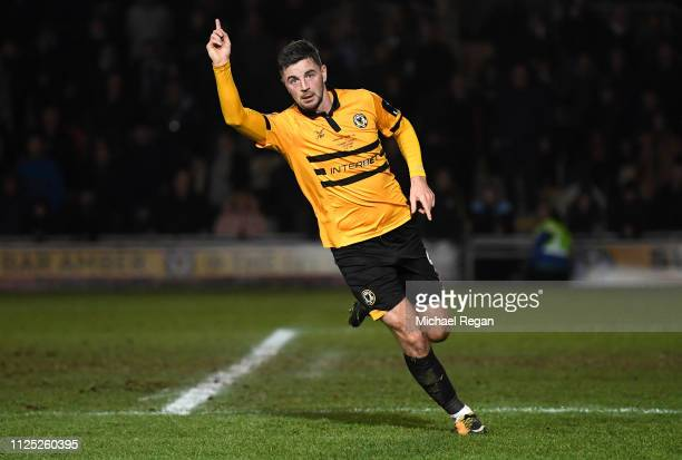 Padraig Amond of Newport County celebrates after scoring his team's first goal during the FA Cup Fifth Round match between Newport County AFC and...