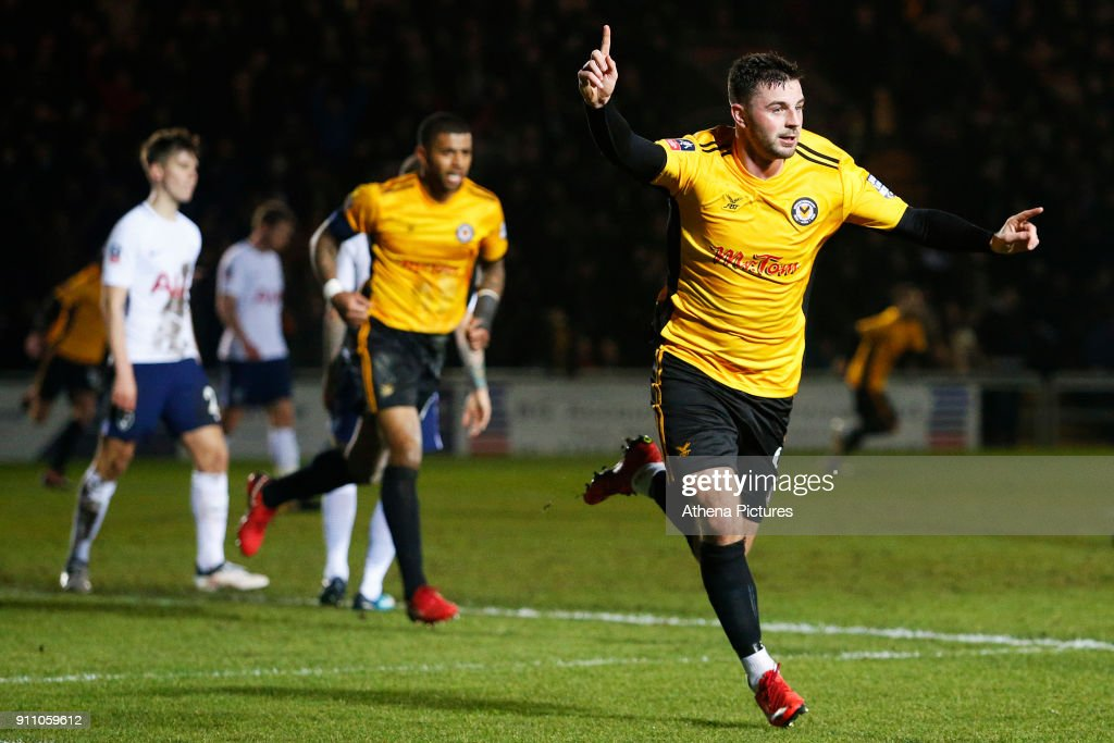 Padraig Amond of Newport County celebrates scoring his side's first goal of the match during the Fly Emirates FA Cup Fourth Round match between Newport County and Tottenham Hotspur at Rodney Parade on January 27, 2018 in Newport, Wales.