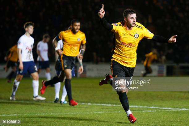Padraig Amond of Newport County celebrates scoring his side's first goal of the match during the Fly Emirates FA Cup Fourth Round match between...