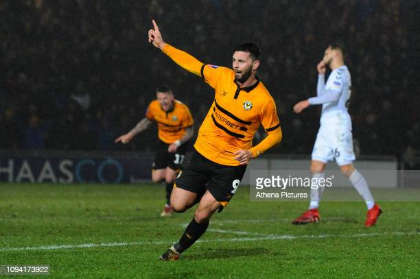 Padraig Amond of Newport County celebrates scoring his sides second goal during the FA Cup Fourth Round Replay match between Newport County and...