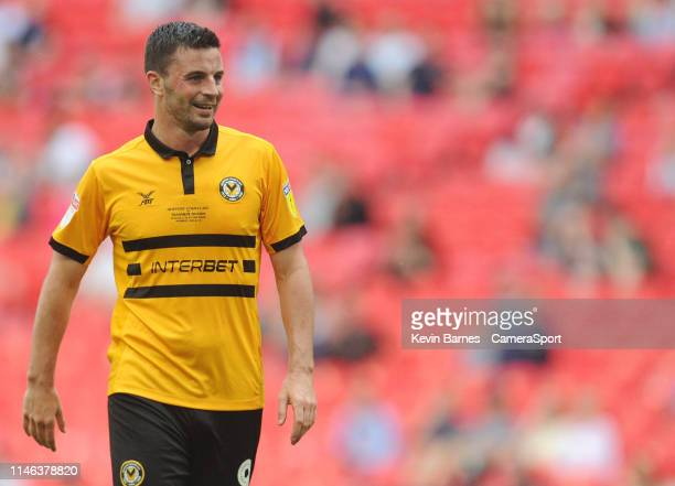 Padraig Amond of Newport County during the Sky Bet League Two Playoff Final match between Tranmere Rovers and Newport County at Wembley Stadium on...
