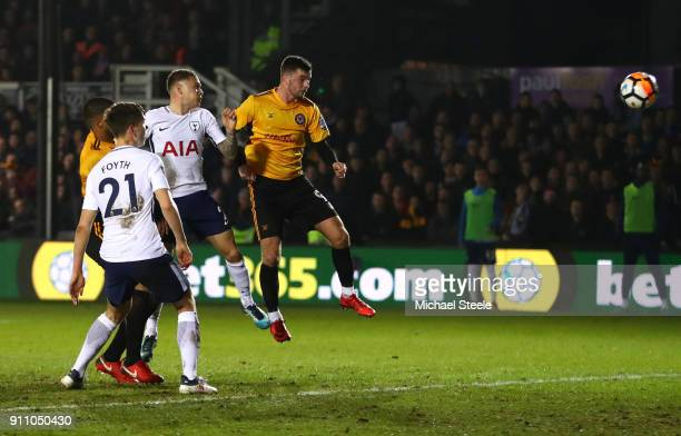 Padraig Amond of Newport County scores his sides first goal during The Emirates FA Cup Fourth Round match between Newport County and Tottenham...