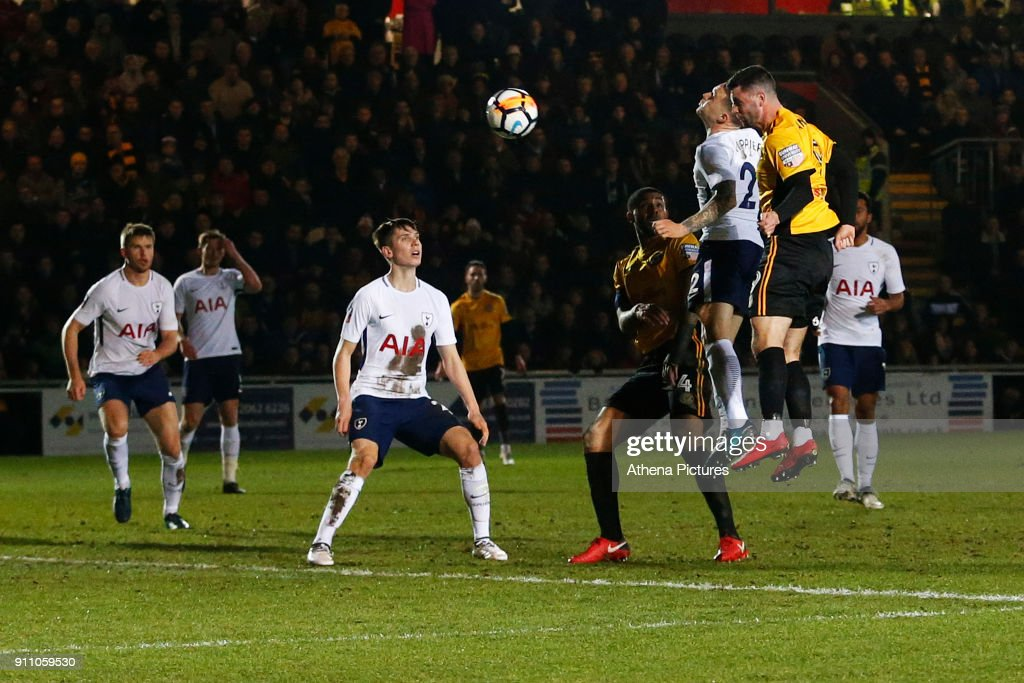 Padraig Amond of Newport County scores his side's first goal of the match during the Fly Emirates FA Cup Fourth Round match between Newport County and Tottenham Hotspur at Rodney Parade on January 27, 2018 in Newport, Wales.