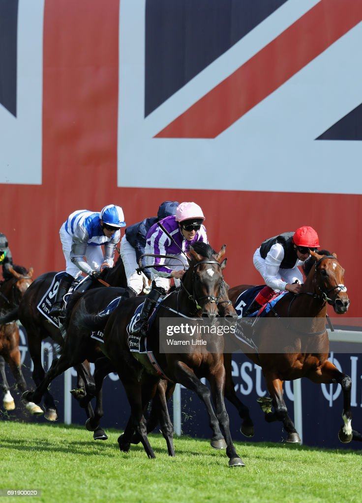 Padraig Beggy rides Wings of an Eagle to victory in the Investec Derby at Epsom Downs Racecourse on June 3, 2017 in Epsom, England.
